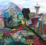 Seattle City - 20 X 24 - Acrylic on Canvas